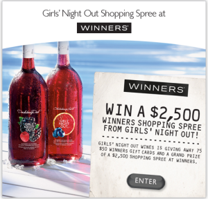 Girls' Night Out Wines Shopping Spree Entrant Page